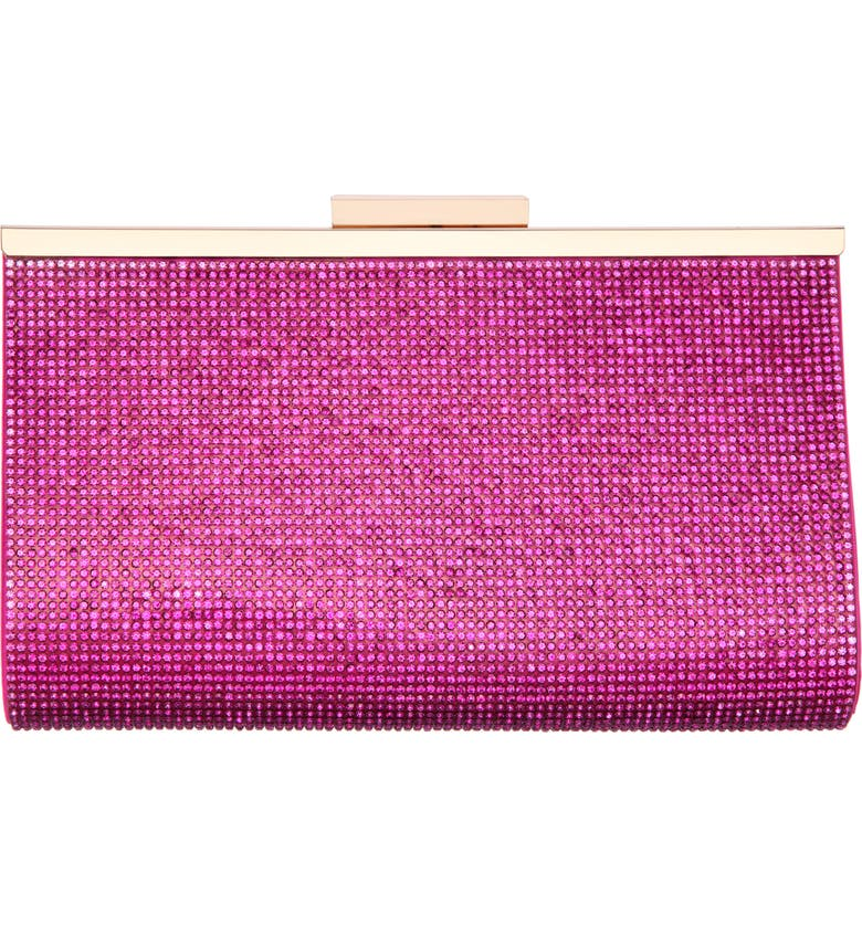 NINA Crystal Frame Clutch, Main, color, PERSIAN ROSE