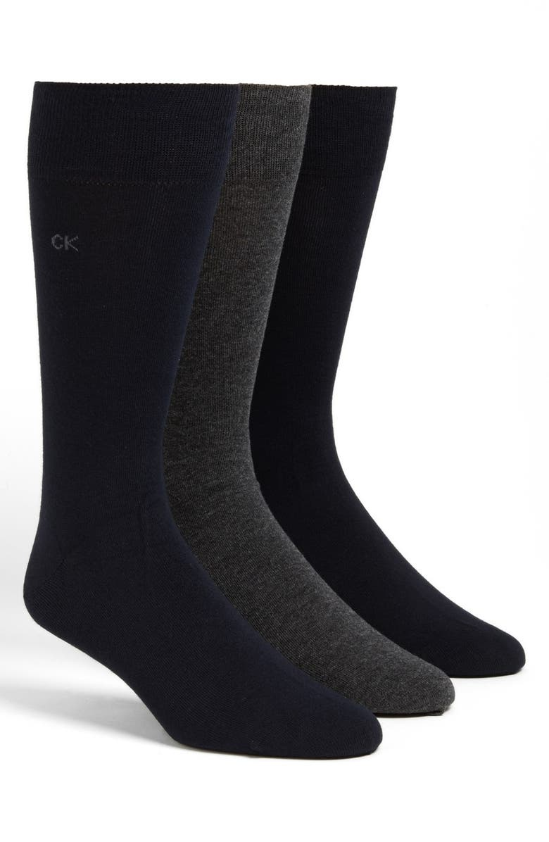 CALVIN KLEIN Assorted 3-Pack Socks, Main, color, ASSORTED BLUE