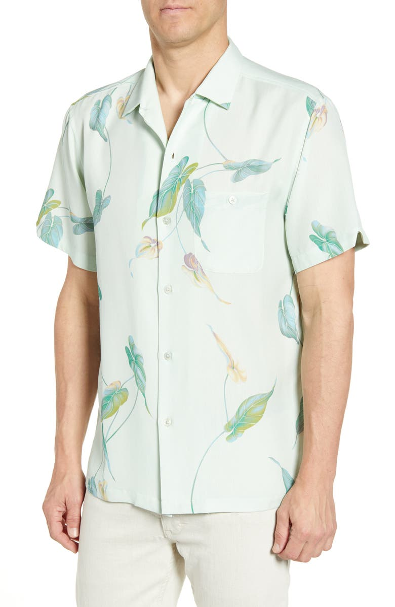 TORI RICHARD Naniloa Regular Fit Tropical Short Sleeve Silk Blend Button-Up Sport Shirt, Main, color, LEMON GRASS