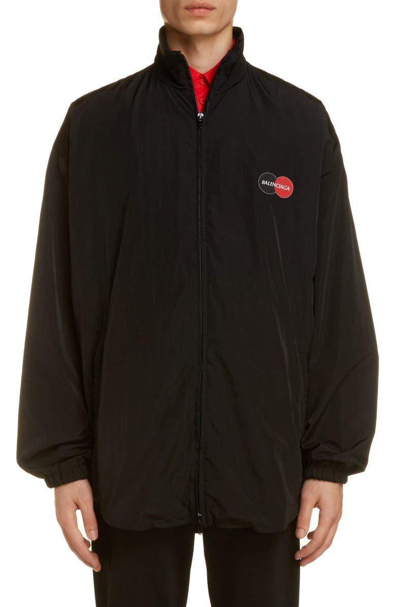 BALENCIAGA Logo Nylon Track Jacket, Main, color, BLACK