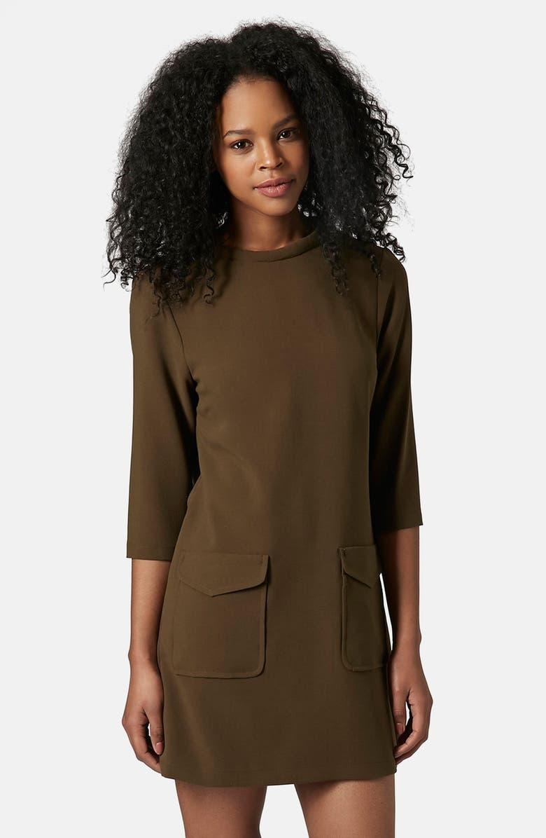TOPSHOP Utility Pocket Tunic Dress, Main, color, 300