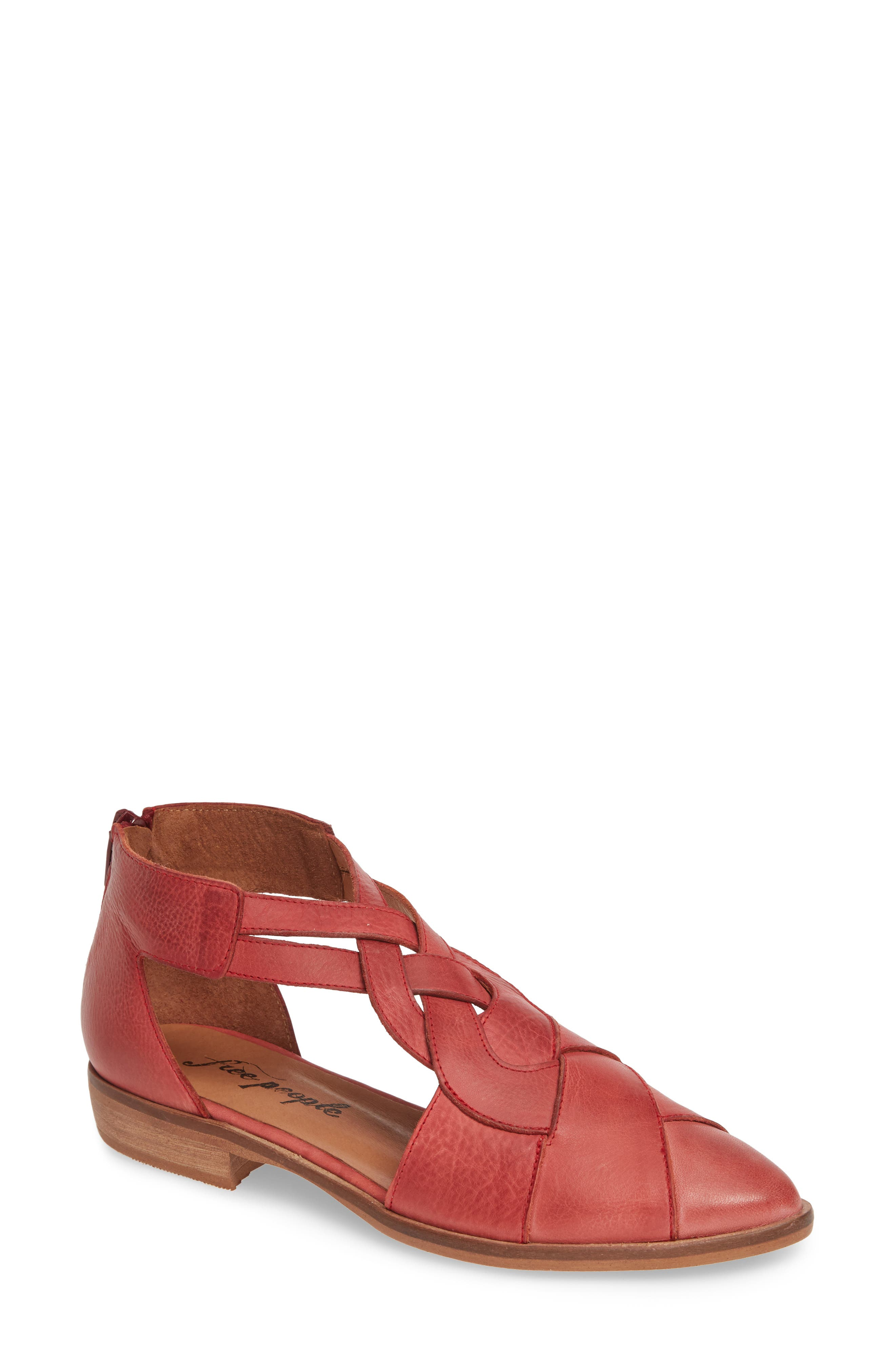 Free People Wanderlust Braided T-Strap Flat, Red