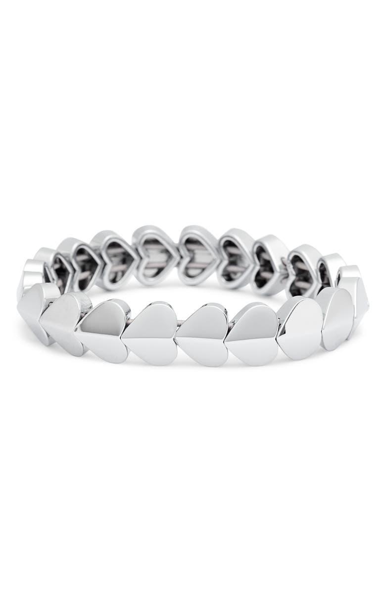KATE SPADE NEW YORK heart stretch bracelet, Main, color, SILVER