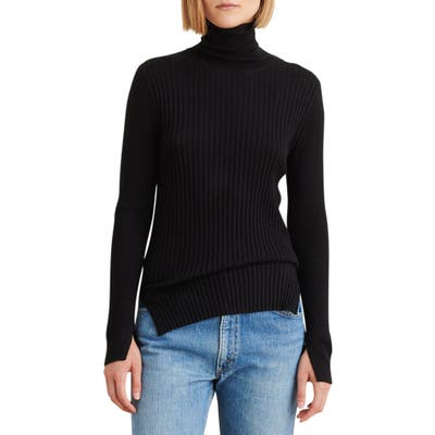 Alex Mill Multi Rib Wool Blend Turtleneck Sweater, Black