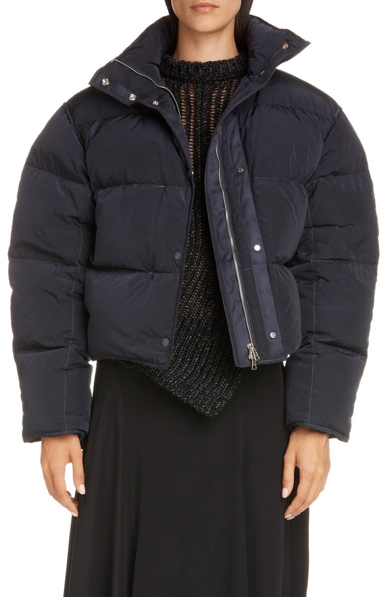 ACNE STUDIOS Oliviera Down Crop Puffer Jacket, Main, color, CHARCOAL GREY