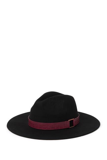 Image of BCBG Croc Embossed Trim Panama Hat