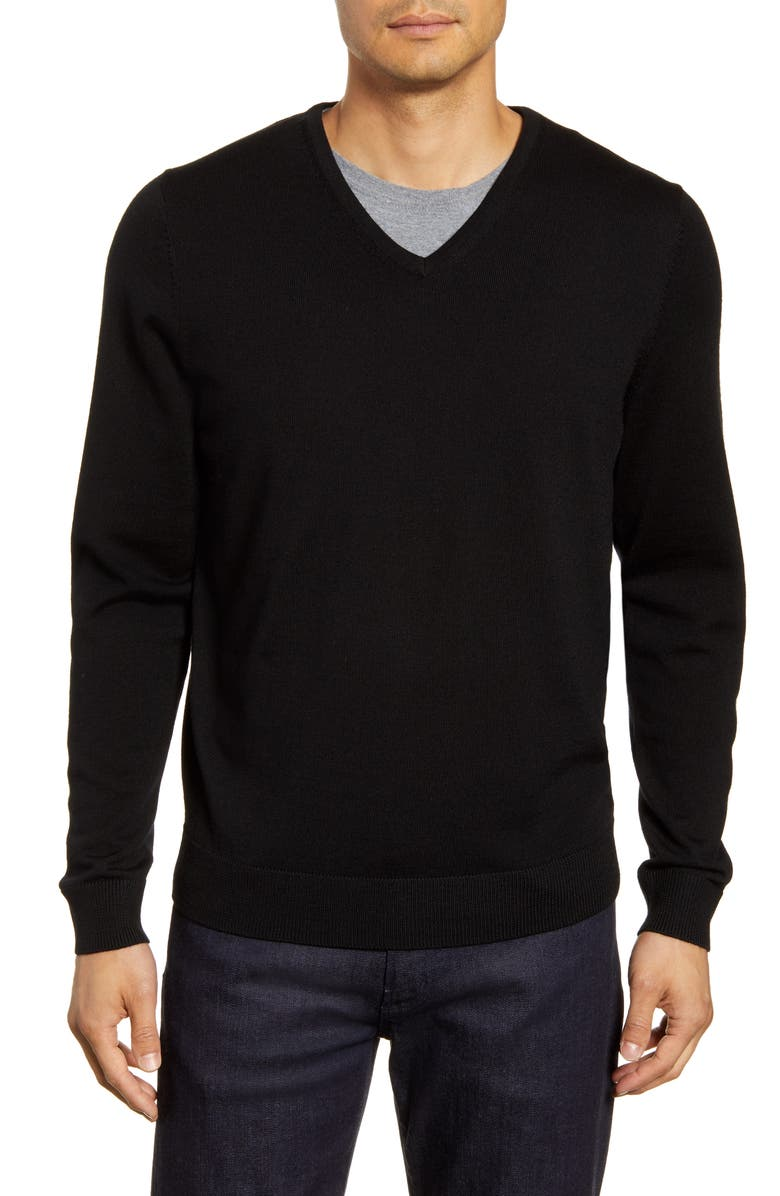 NORDSTROM MEN'S SHOP V-Neck Merino Wool Sweater, Main, color, BLACK CAVIAR
