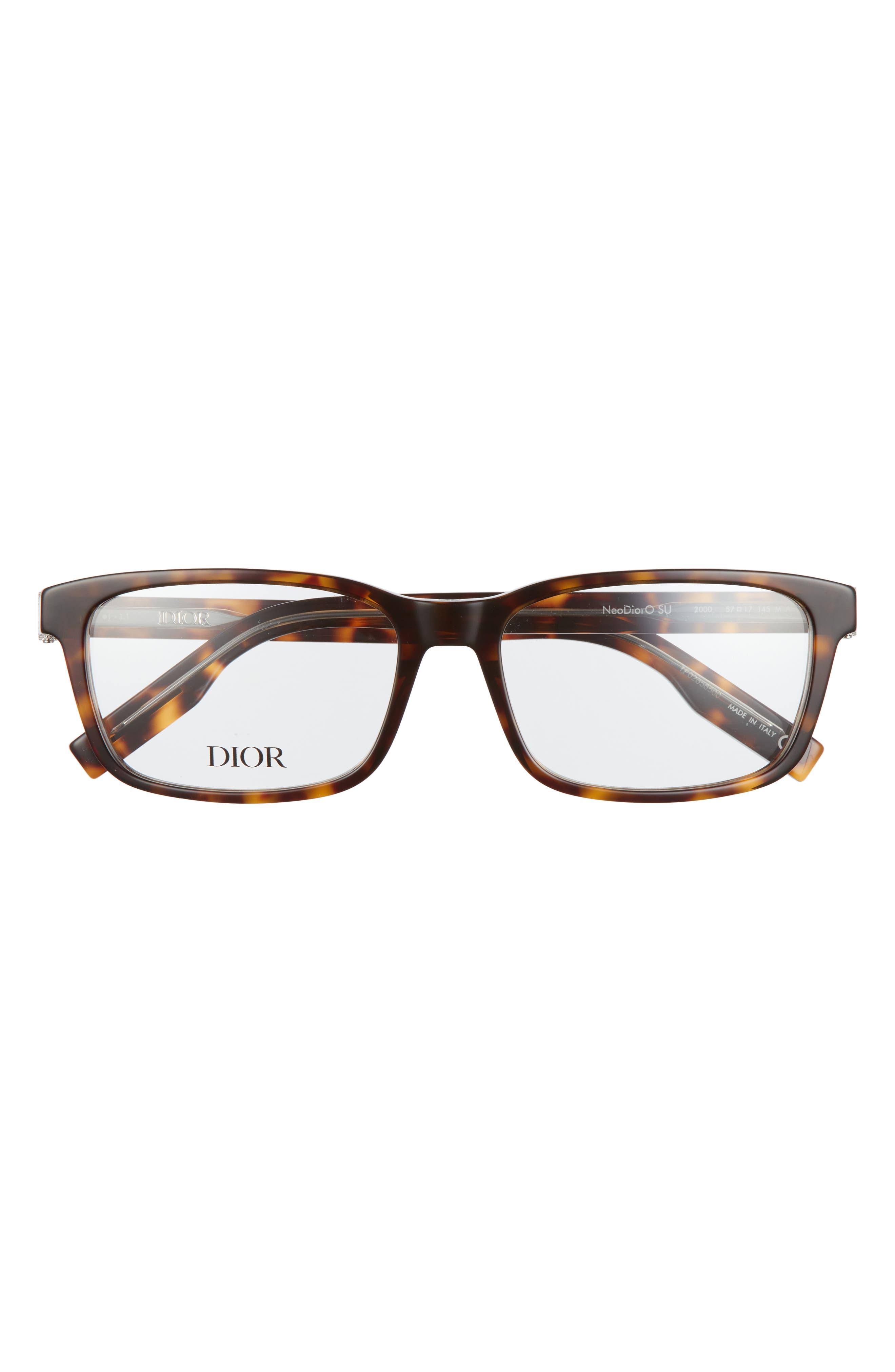 Men's Dior 57mm Rectangular Optical Glasses