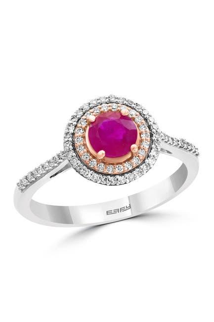 Image of Effy 14K White & Rose Gold Diamond & Natural Ruby Ring - 0.21 ctw - Size 7