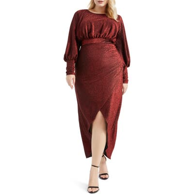 Plus Size Eloquii Long Sleeve Sparkle Maxi Dress, Red