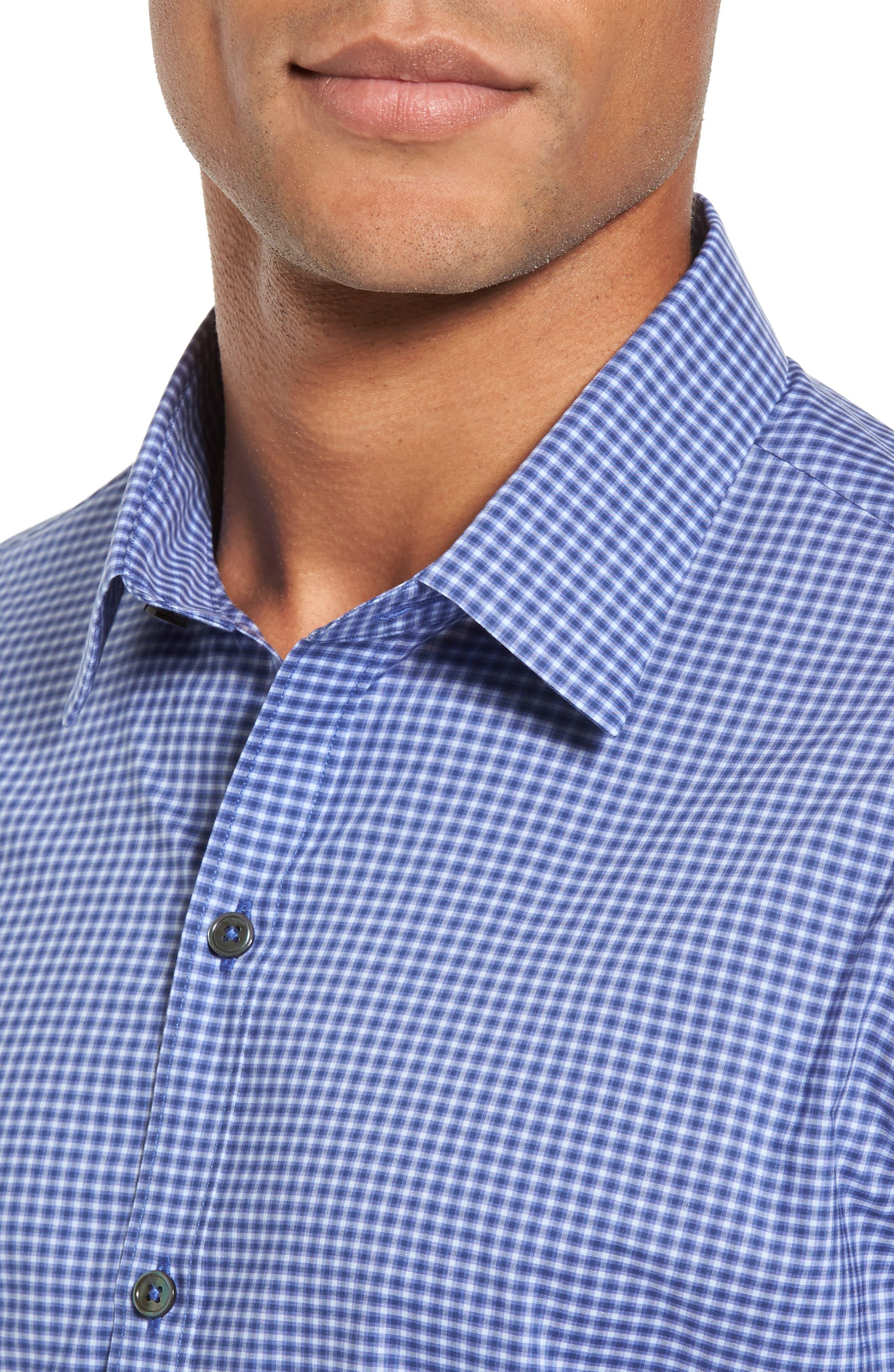 ,                             Ramon Regular Fit Mini Check Sport Shirt,                             Alternate thumbnail 4, color,                             BLUE