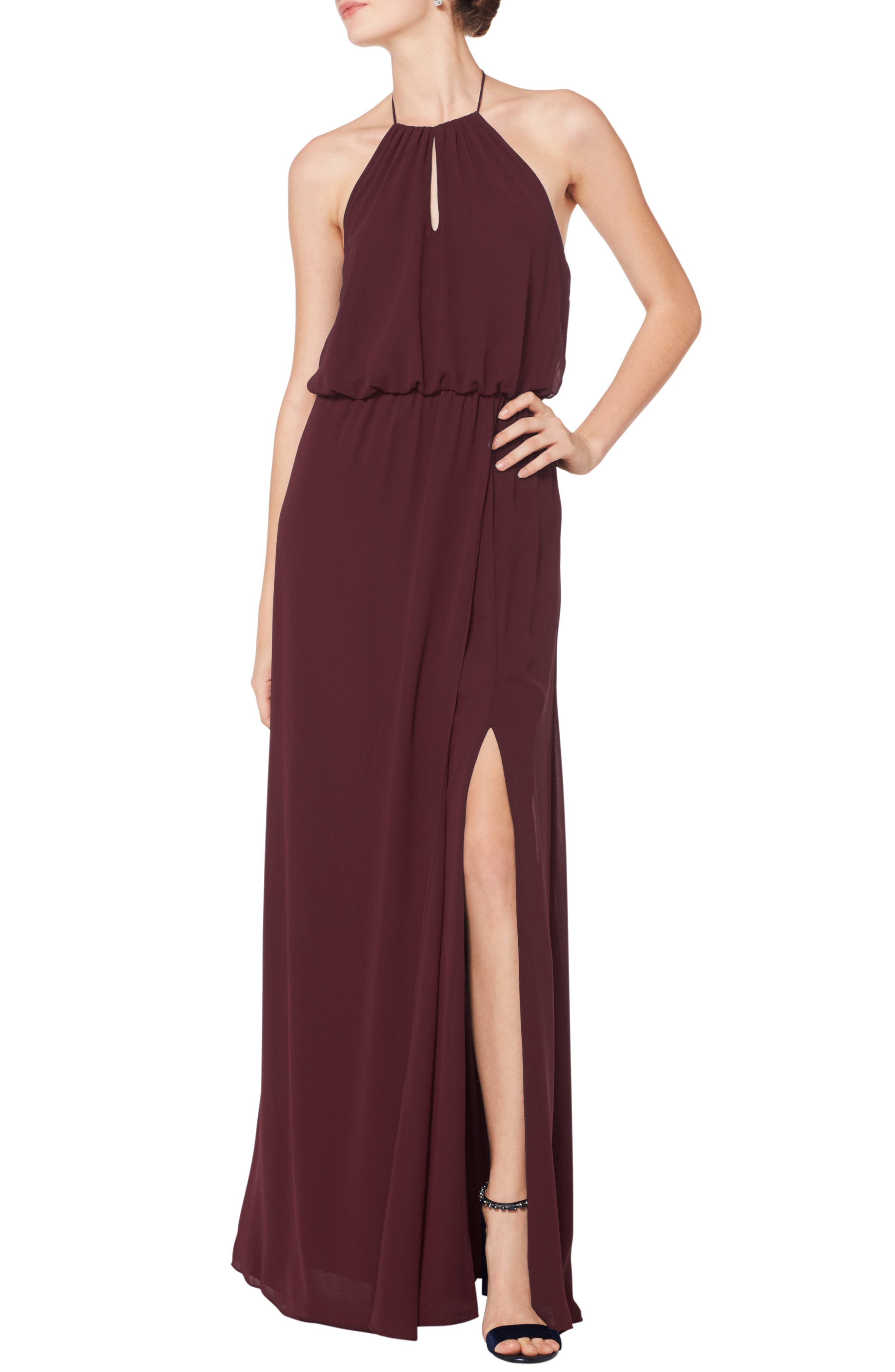 #levkoff Halter Keyhole Blouson Chiffon Evening Dress, Burgundy