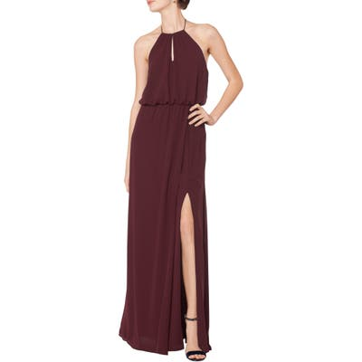 #levkoff Halter Keyhole Blouson Chiffon Evening Dress, Burgundy