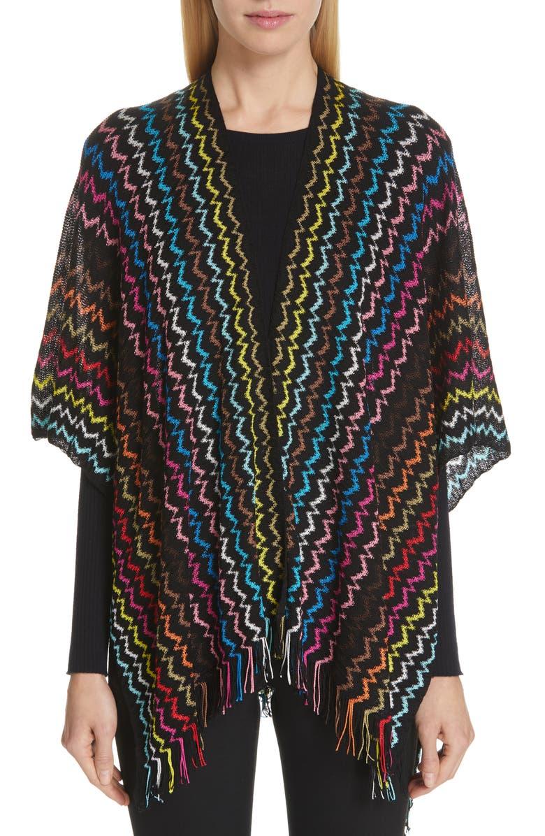 MISSONI Bright Zigzag Cape, Main, color, BLACK