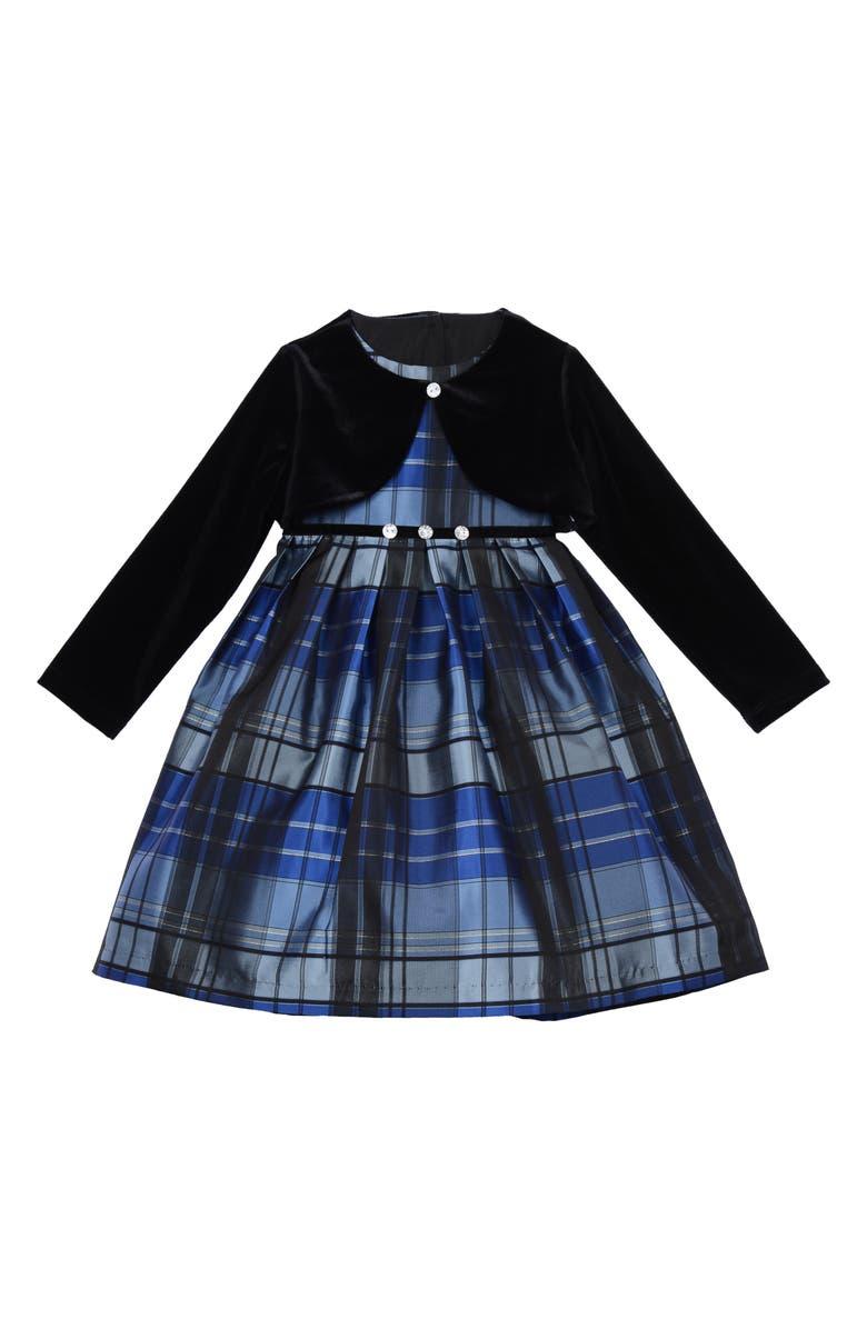 PIPPA & JULIE Metallic Plaid Dress & Velvet Shrug Jacket, Main, color, 016