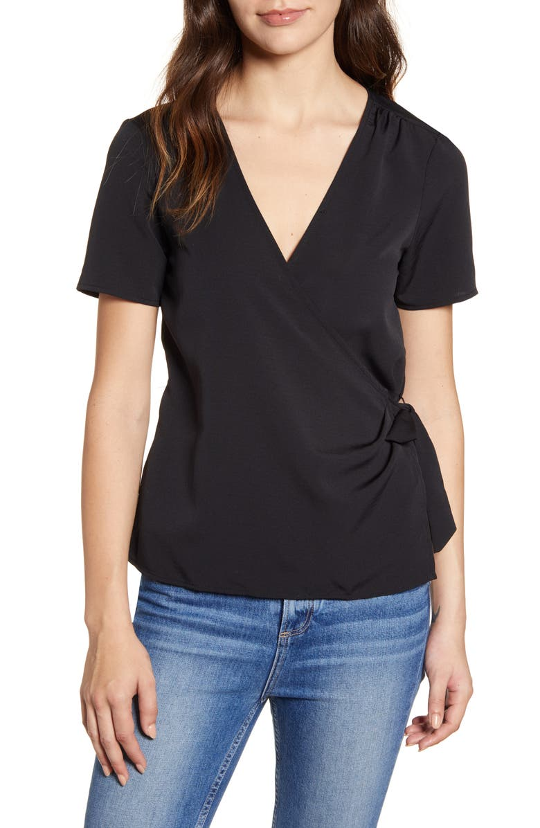 BOBEAU Gwyneth Wrap Top, Main, color, BLACK