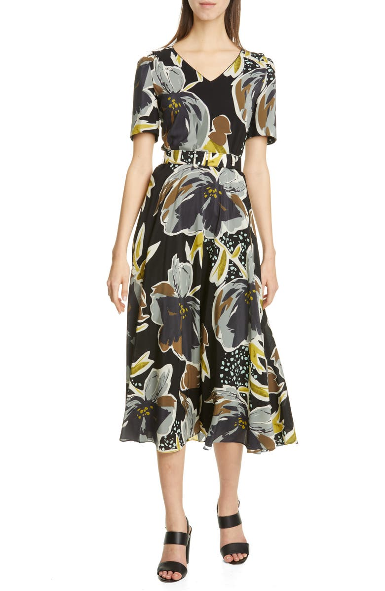 LAFAYETTE 148 NEW YORK Roland Belted Floral Silk Midi Dress, Main, color, BLACK MULTI