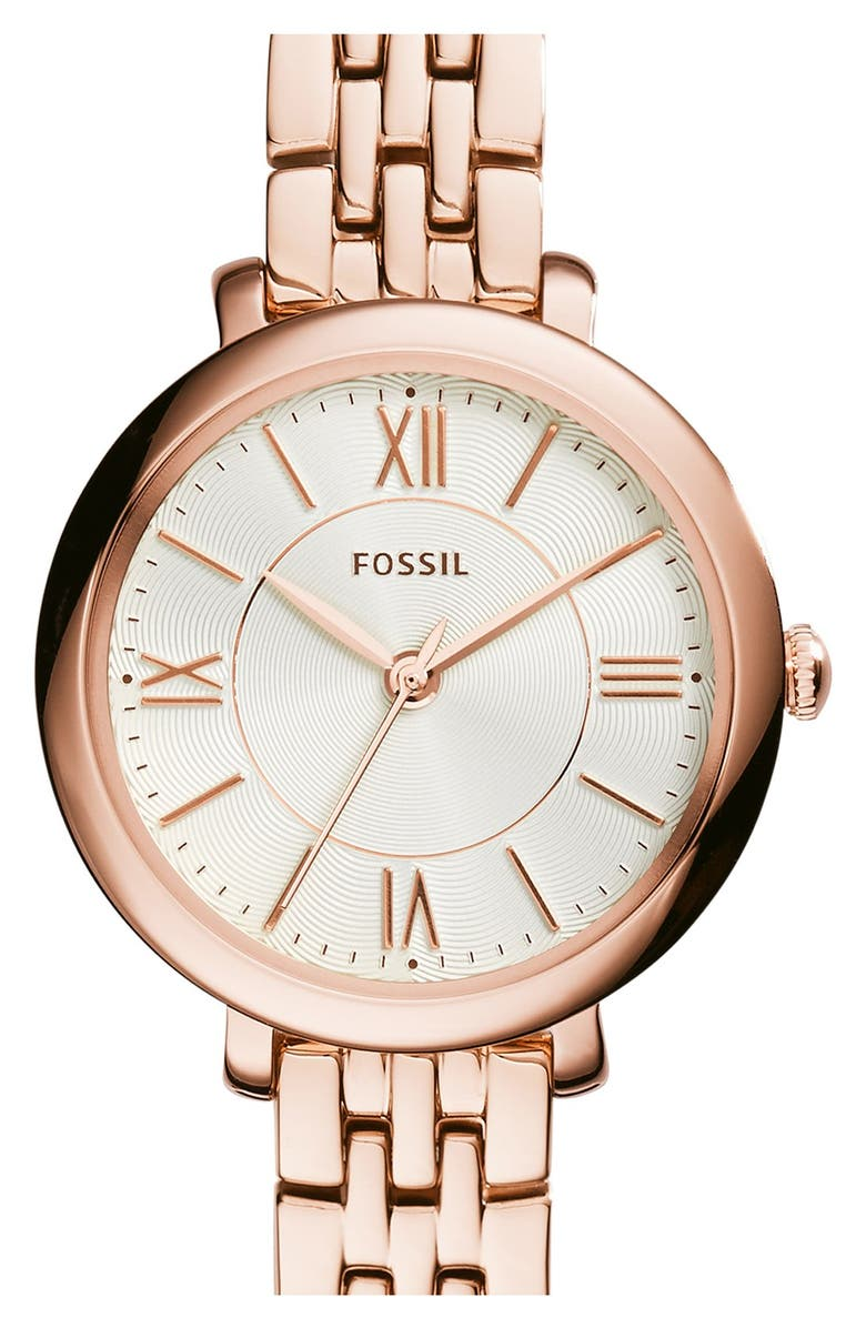 FOSSIL 'Jacqueline' Round Bracelet Watch, 26mm, Main, color, ROSE GOLD