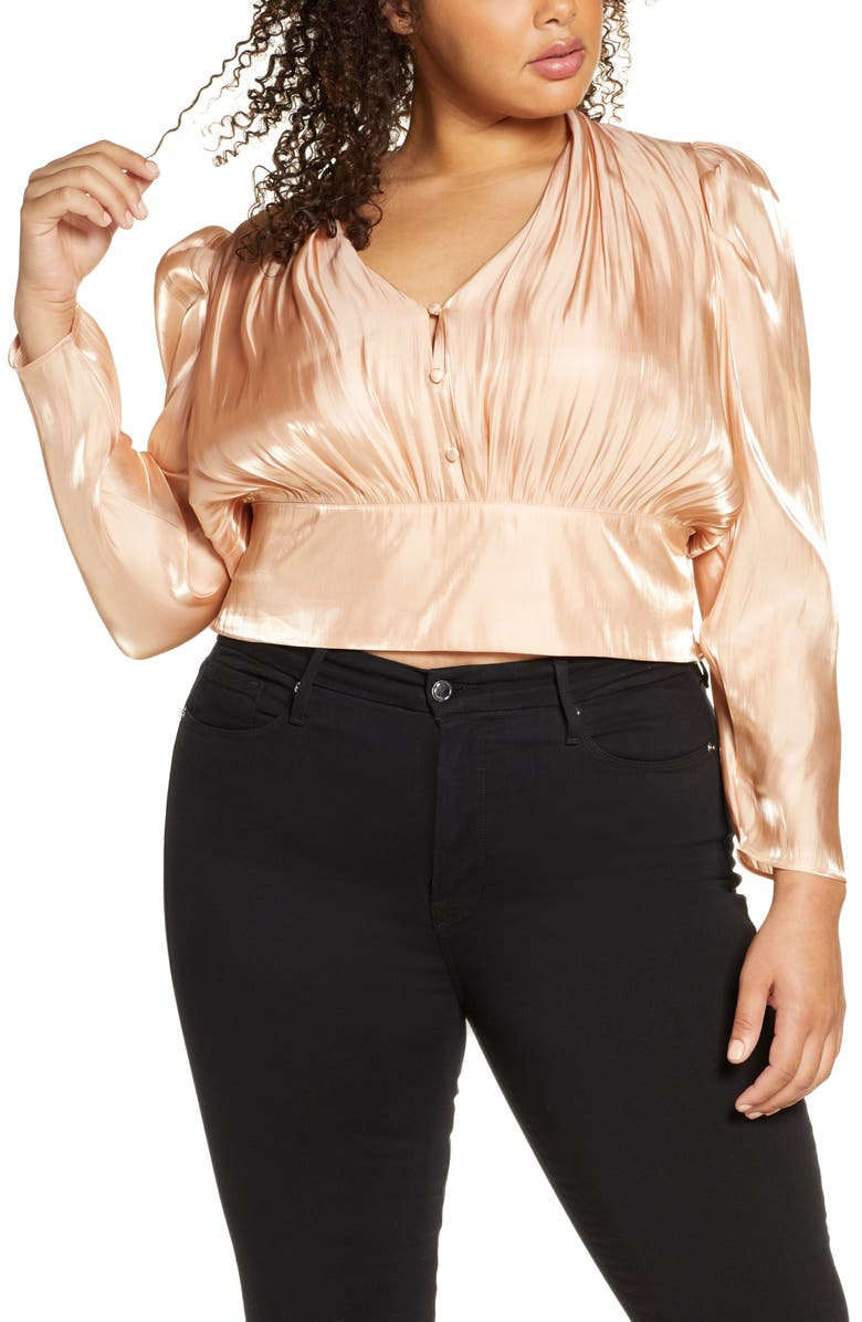 LEITH Shine Long Sleeve Button Front Blouse, Main, color, METALLIC GOLD