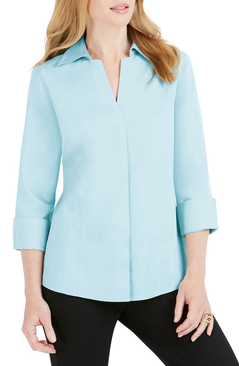FOXCROFT Fitted Non-Iron Shirt, Main, color, OASIS