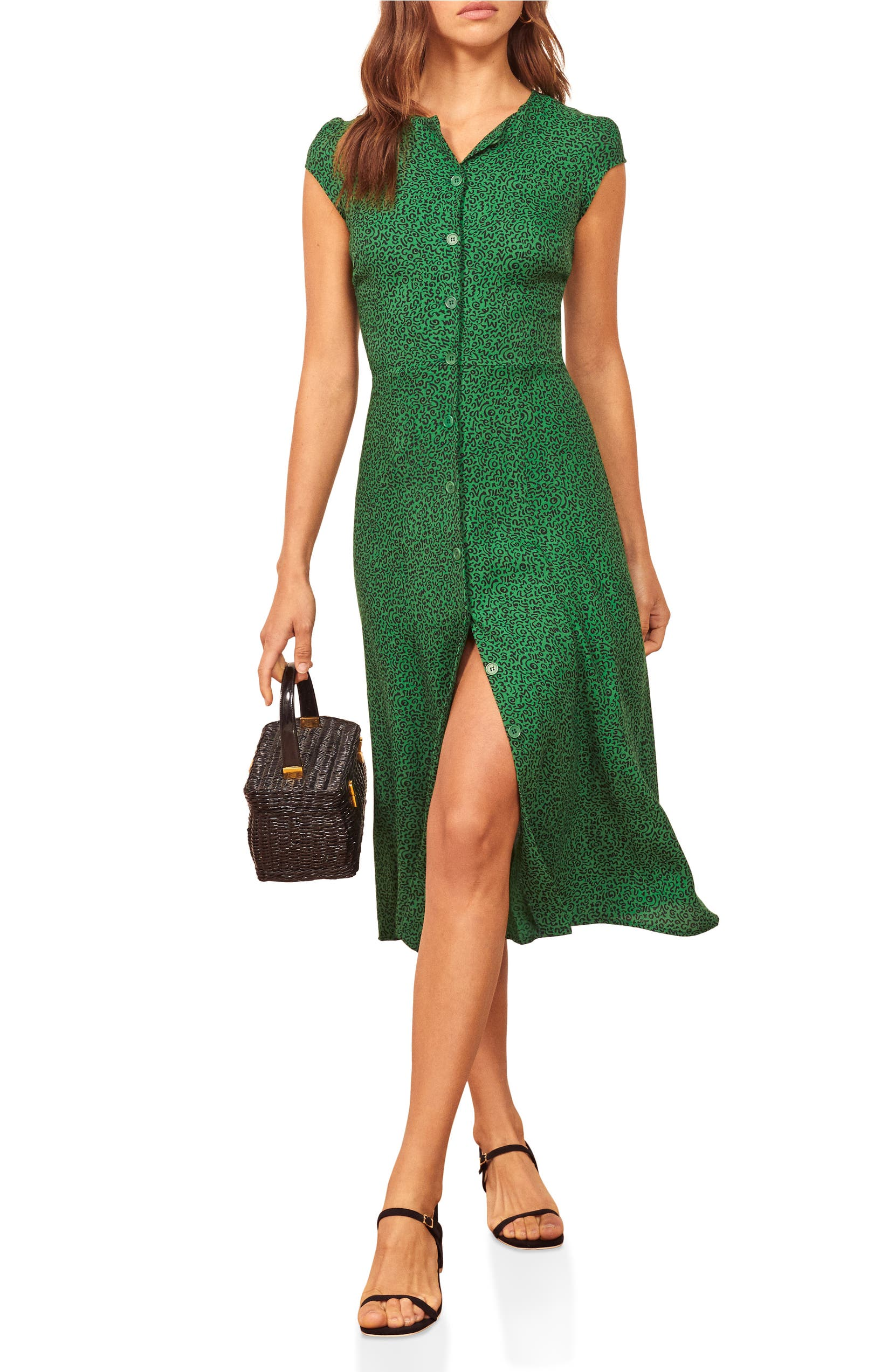 bed3a0f3d1cee Fauna Front Button Midi Dress