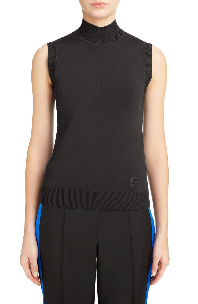 GIVENCHY Turtleneck Sleeveless Top, Main, color, 001