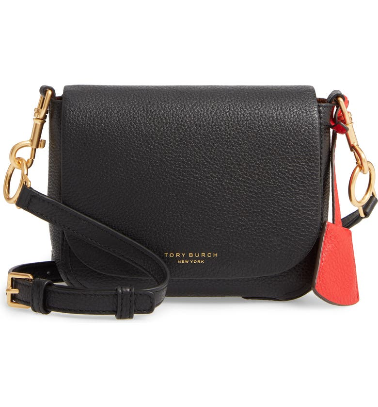TORY BURCH Perry Calfskin Leather Crossbody, Main, color, BLACK
