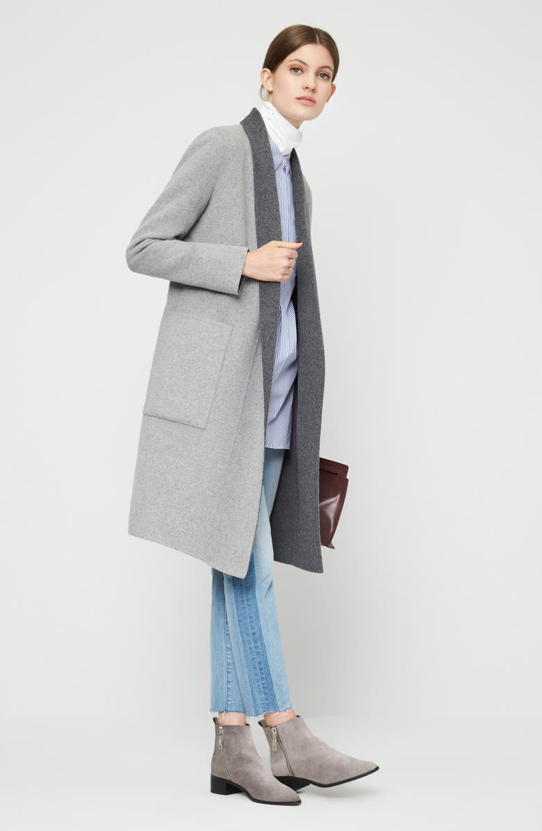 SOIA & KYO Double Face Wool Blend Long Wrap Coat, Main, color, 077