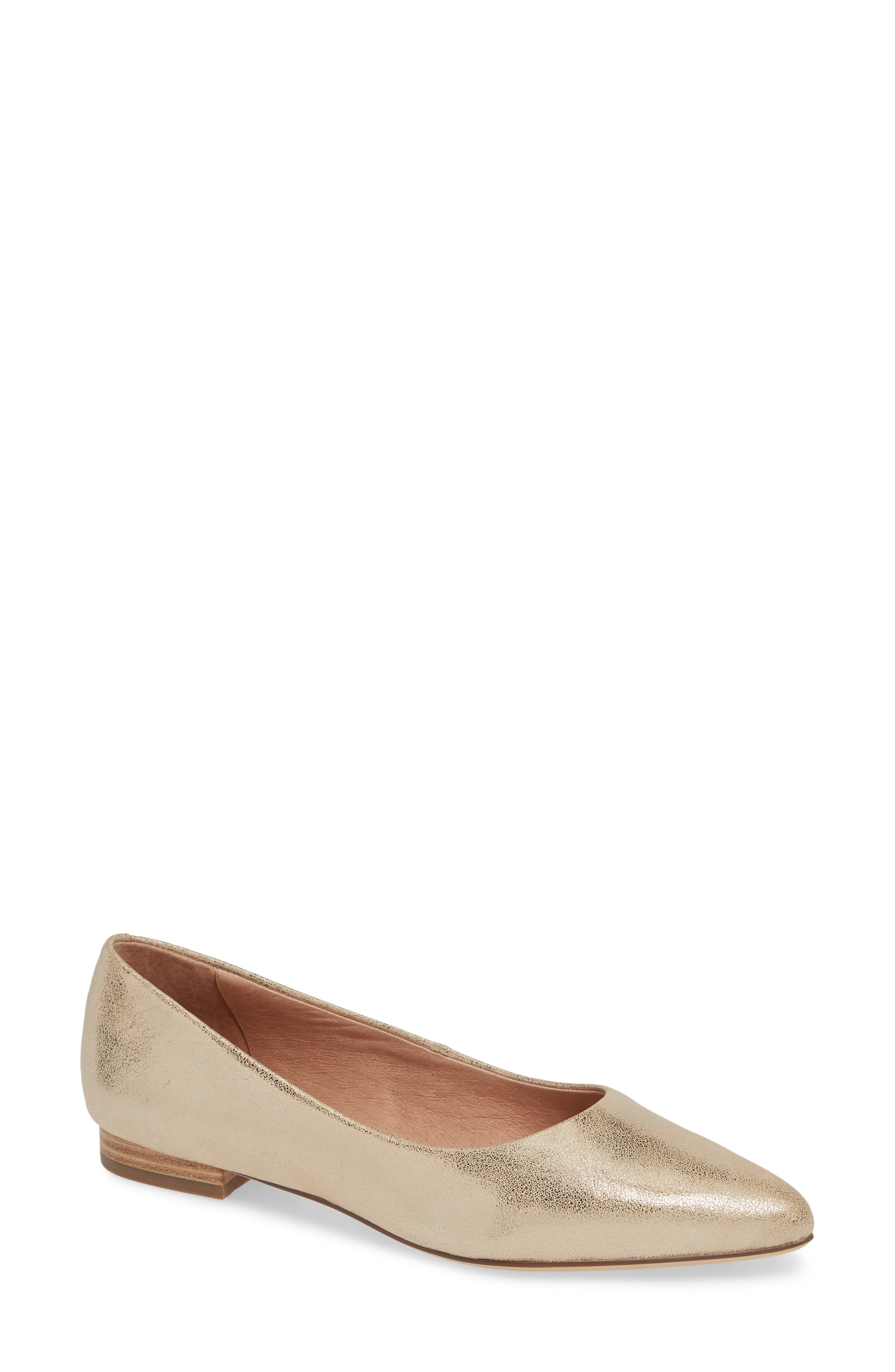 ,                             Luna Pointy Toe Flat,                             Main thumbnail 1, color,                             LIGHT GOLD LEATHER