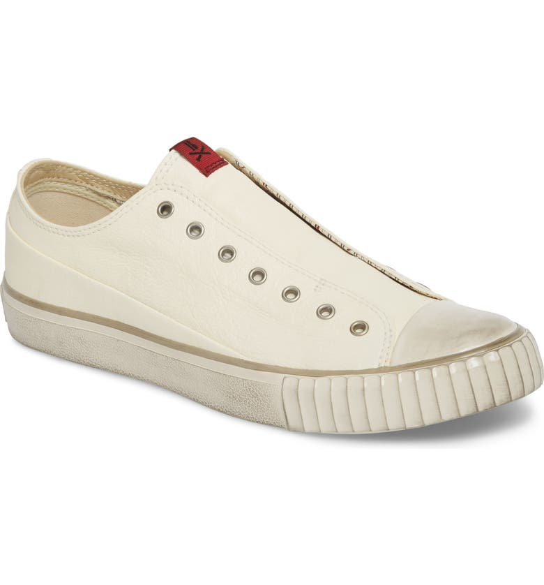 BOOTLEG BY JOHN VARVATOS Laceless Low Top Sneaker, Main, color, WHITE LEATHER