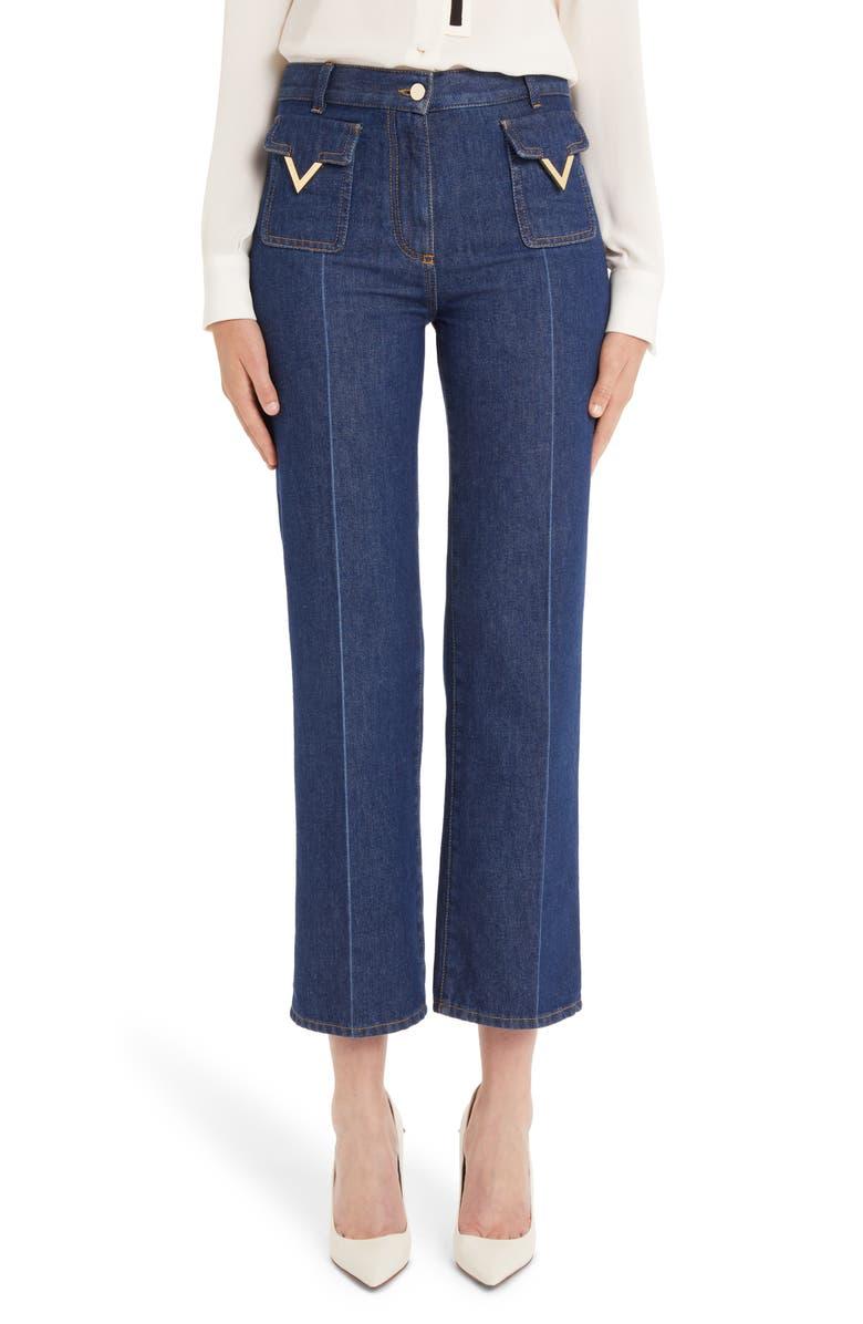 VALENTINO V-Detail Straight Crop Jeans, Main, color, DENIM BLUE