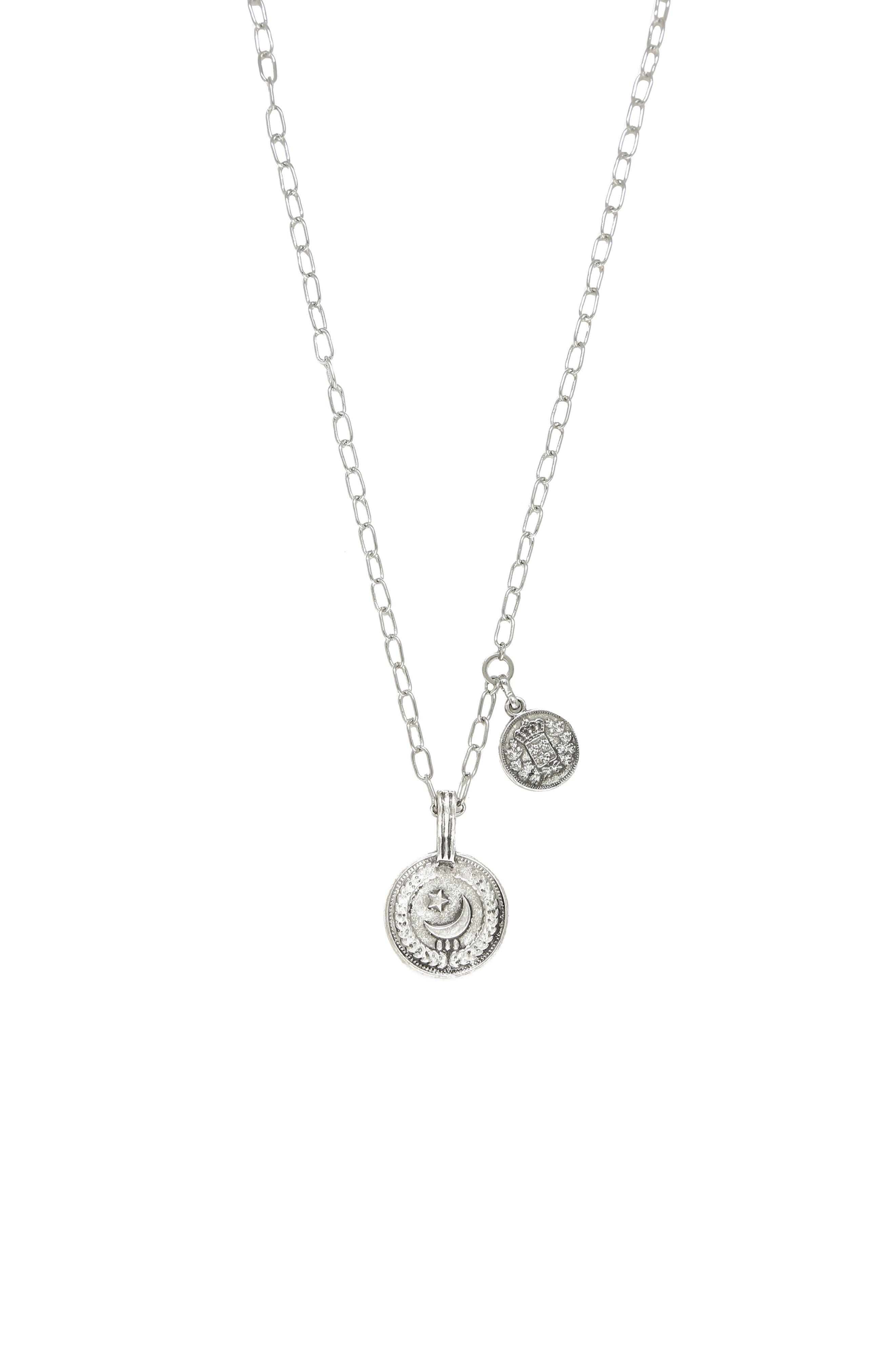 Double Coin Pendant Necklace