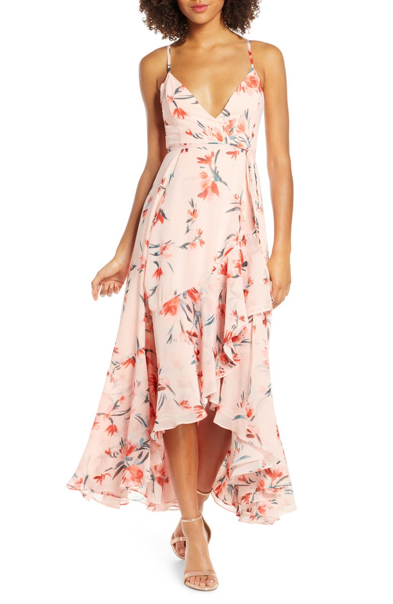 FAME AND PARTNERS The Rosalia High/Low Wrap Dress, Main, color, PAINTED FLORAL TANGERINE