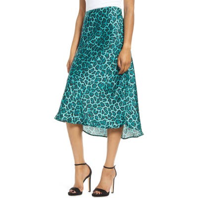 Leith Satin Midi Skirt, Blue/green