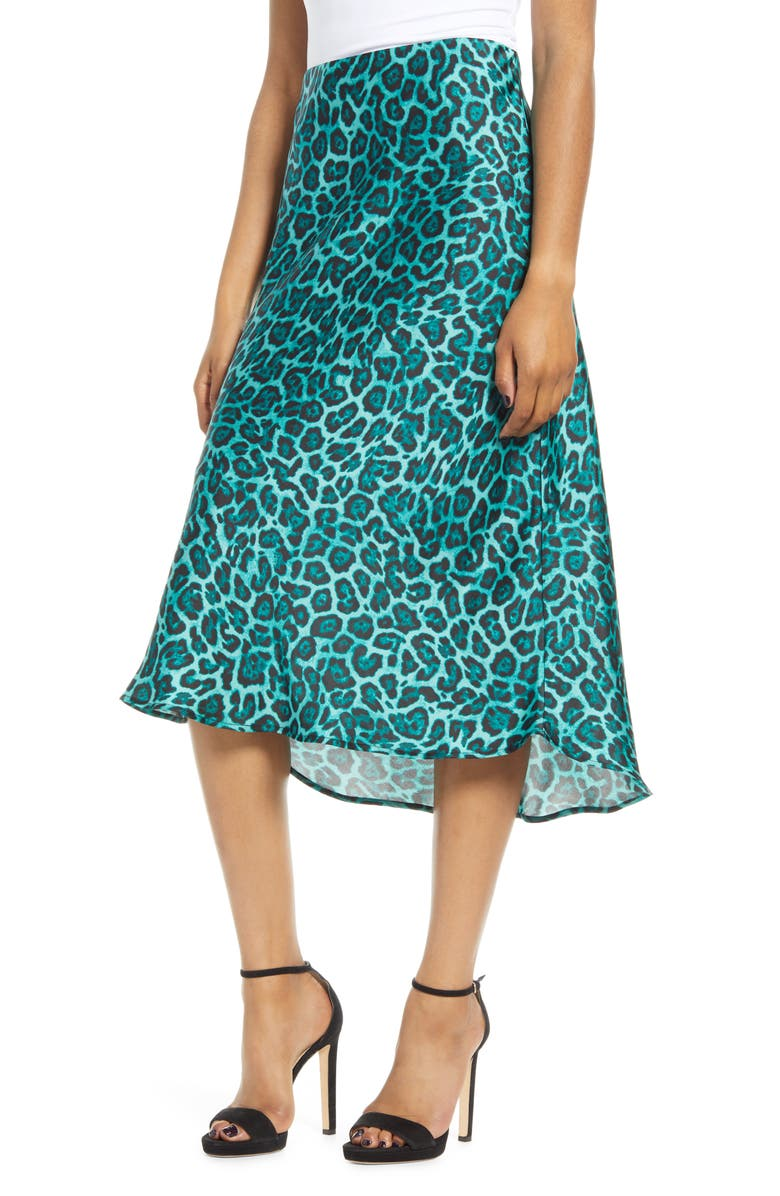LEITH Satin Midi Skirt, Main, color, TEAL BAYOU LEOPARD