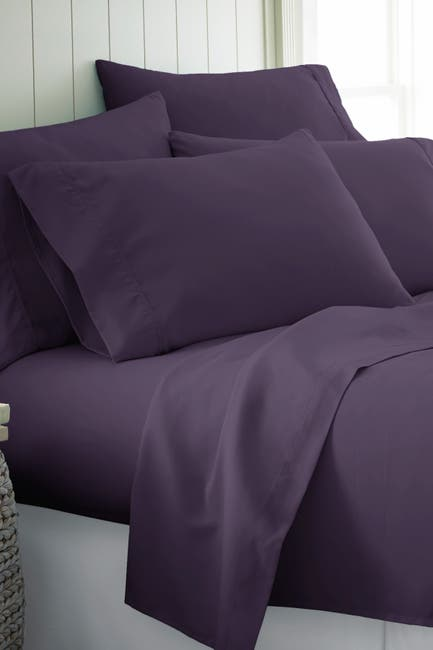 Image of IENJOY HOME King Hotel Collection Premium Ultra Soft 6-Piece Bed Sheet Set - Purple