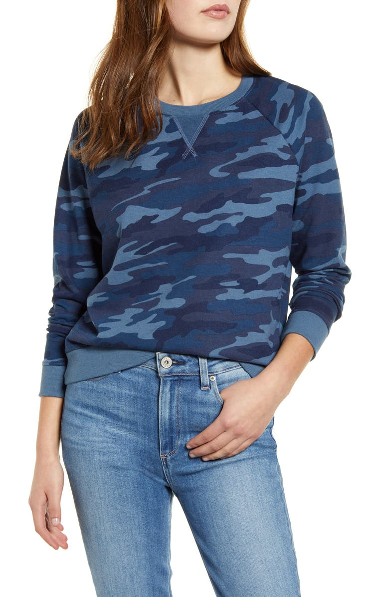 LUCKY BRAND Camo Sweatshirt, Main, color, NAVY MULTI