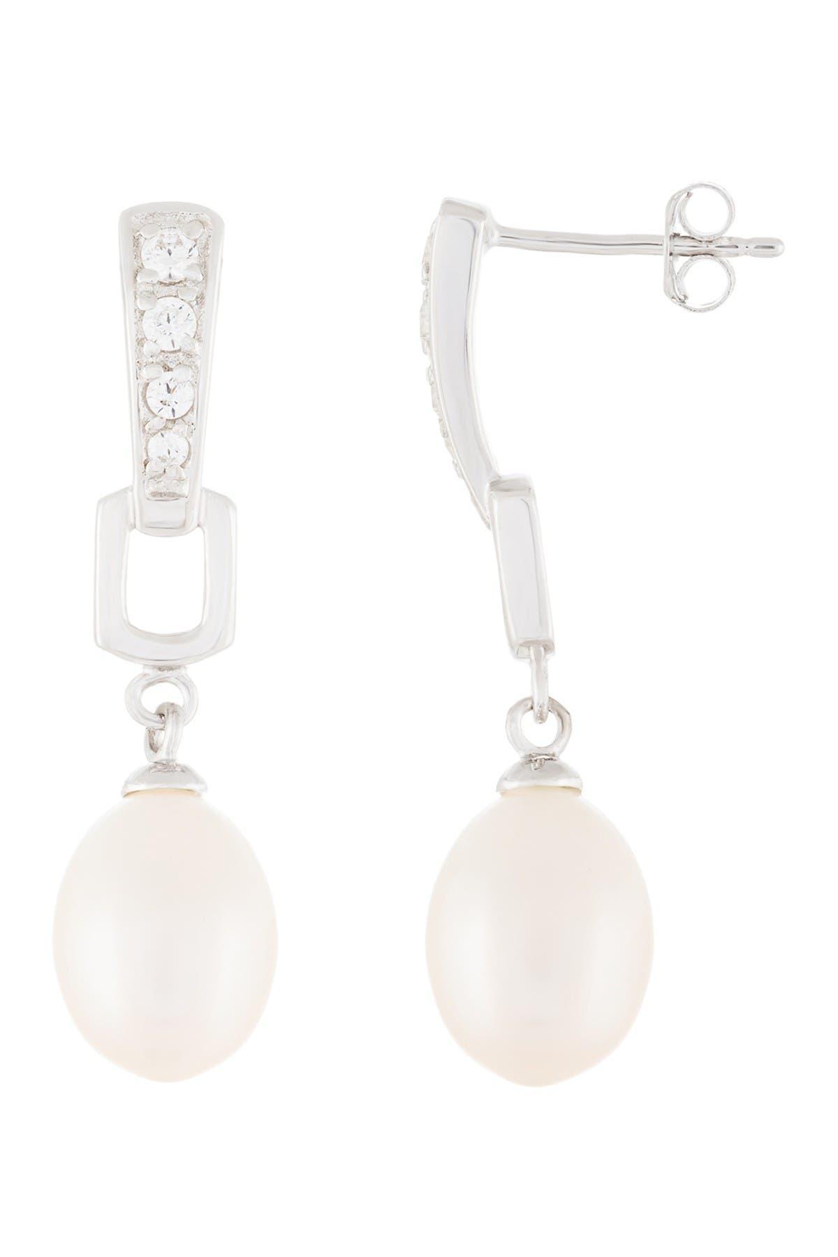 Image of Splendid Pearls Sterling Silver 8.5-9mm White Freshwater Pearl & CZ Dangle Earrings