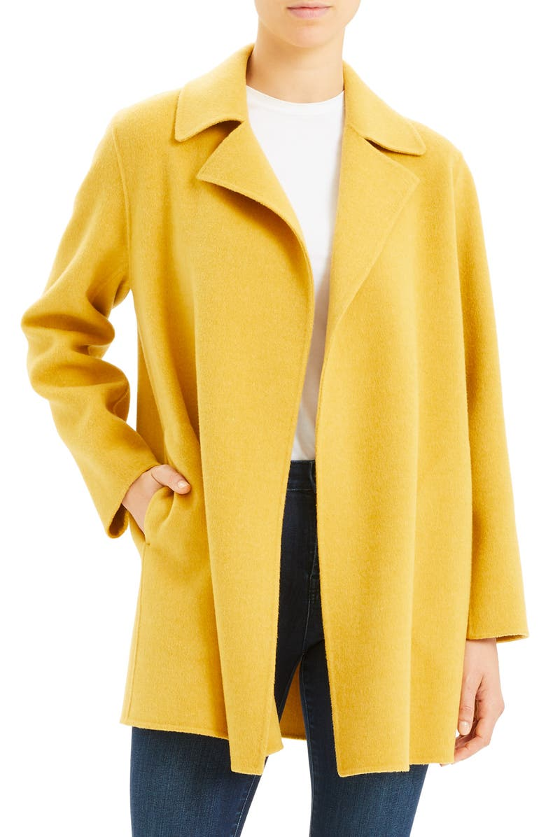 THEORY Wool & Cashmere Overlay Coat, Main, color, MUSTARD MELANGE