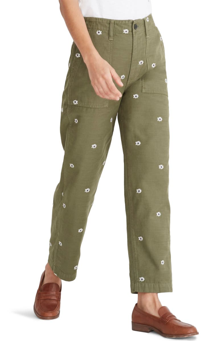 Daisy Embroidered Edition Griff Fatigue Pants, Main, color, DESERT OLIVE