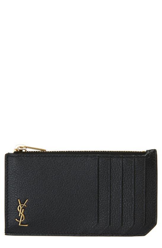 Saint Laurent Fragments Monogram Leather Zip Card Case In Black