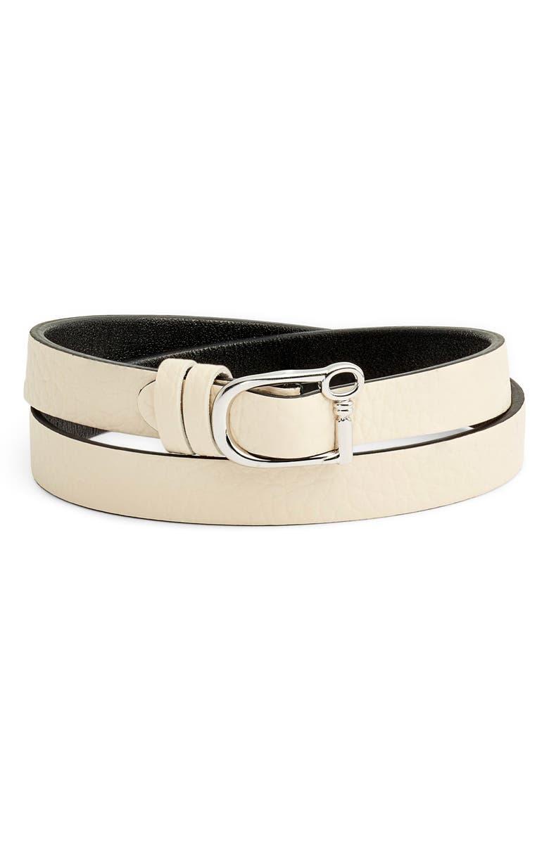 KEEP COLLECTIVE Reversible Double Wrap Leather Bracelet, Main, color, BLUSH