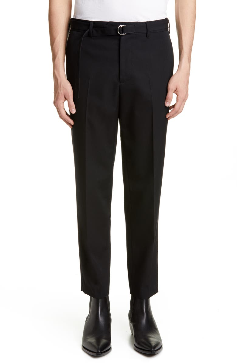 HELMUT LANG Crop Slim Fit Wool Dress Pants, Main, color, BLACK