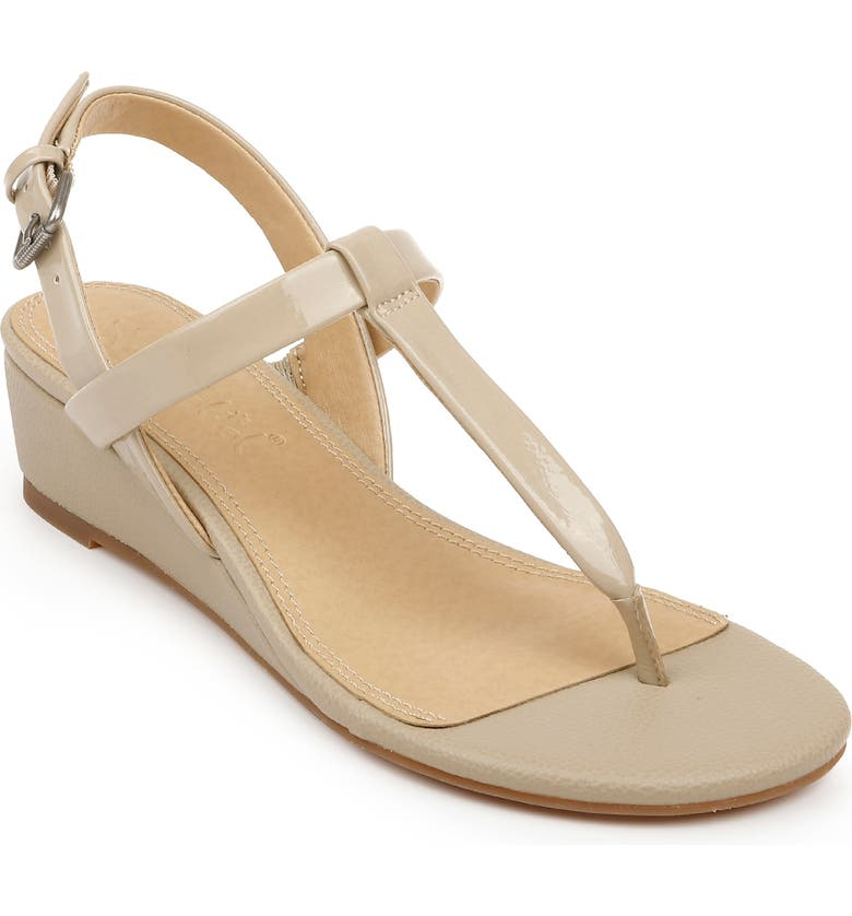SPLENDID Avalon Wedge Sandal, Main, color, BEIGE PATENT LEATHER