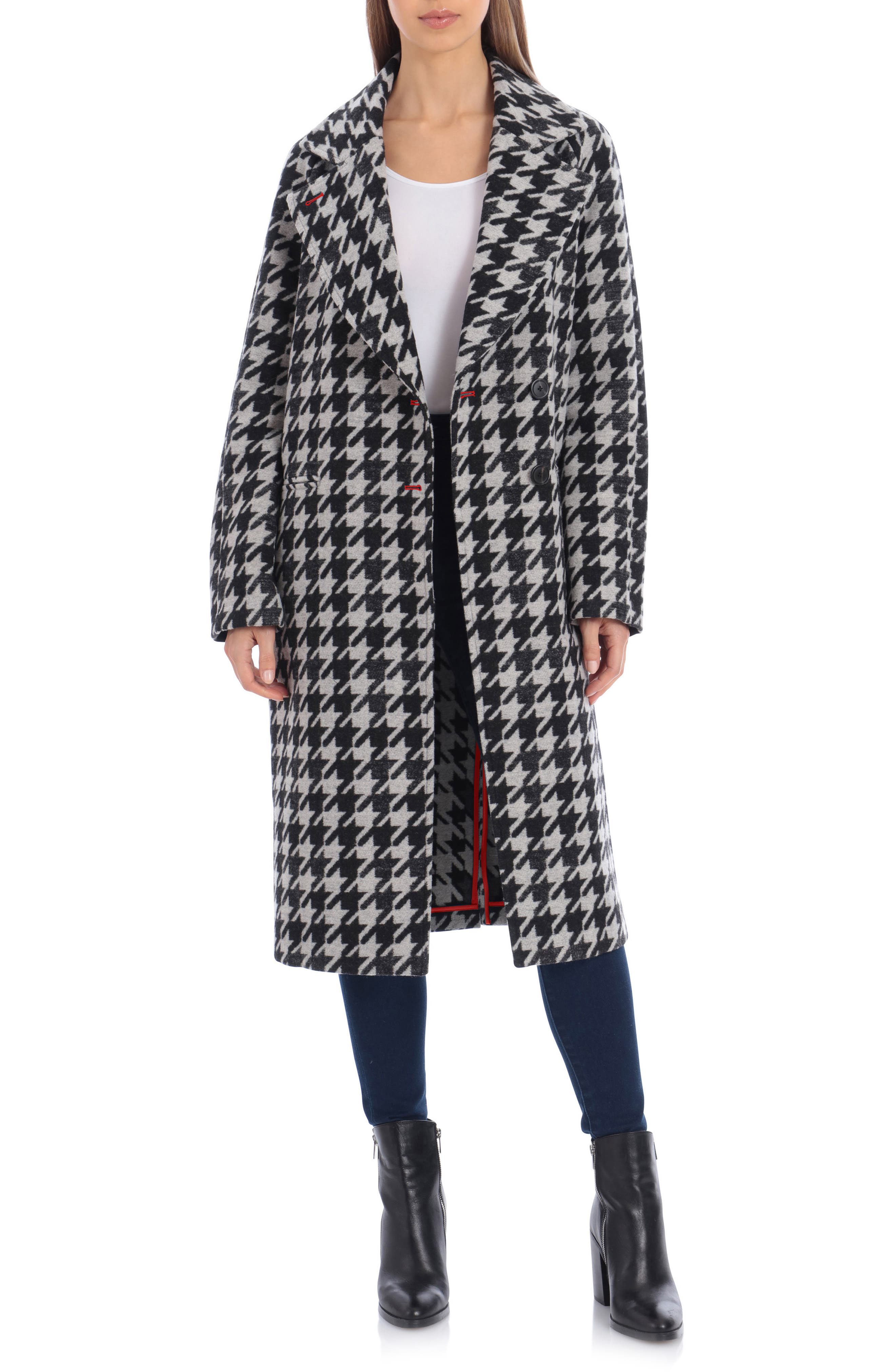 1950s Jackets, Coats, Bolero | Swing, Pin Up, Rockabilly Womens Avec Les Filles Houndstooth Oversize Double Face Coat Size XX-Large - Black $169.90 AT vintagedancer.com