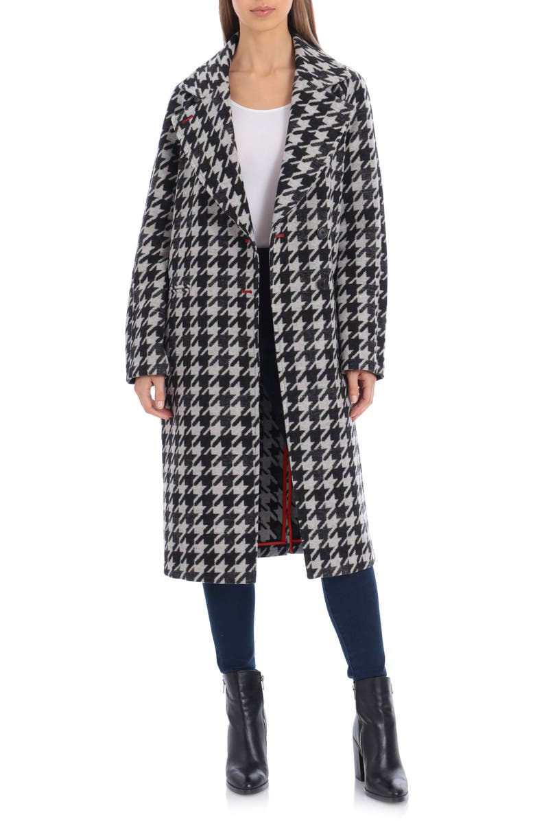 AVEC LES FILLES Houndstooth Oversize Double Face Coat, Main, color, BLACK- WHITE HOUNDSTOOTH