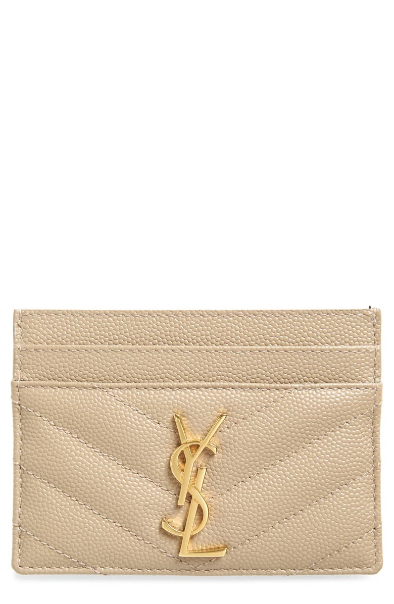 SAINT LAURENT Monogram Quilted Leather Credit Card Case, Main, color, DUSTY GREY