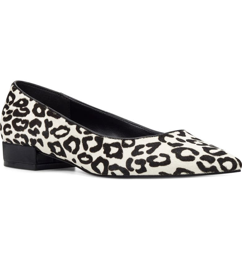NINE WEST Fayth Pointy Toe Genuine Calf Hair Pump, Main, color, WHITE/ BLACK CALF HAIR