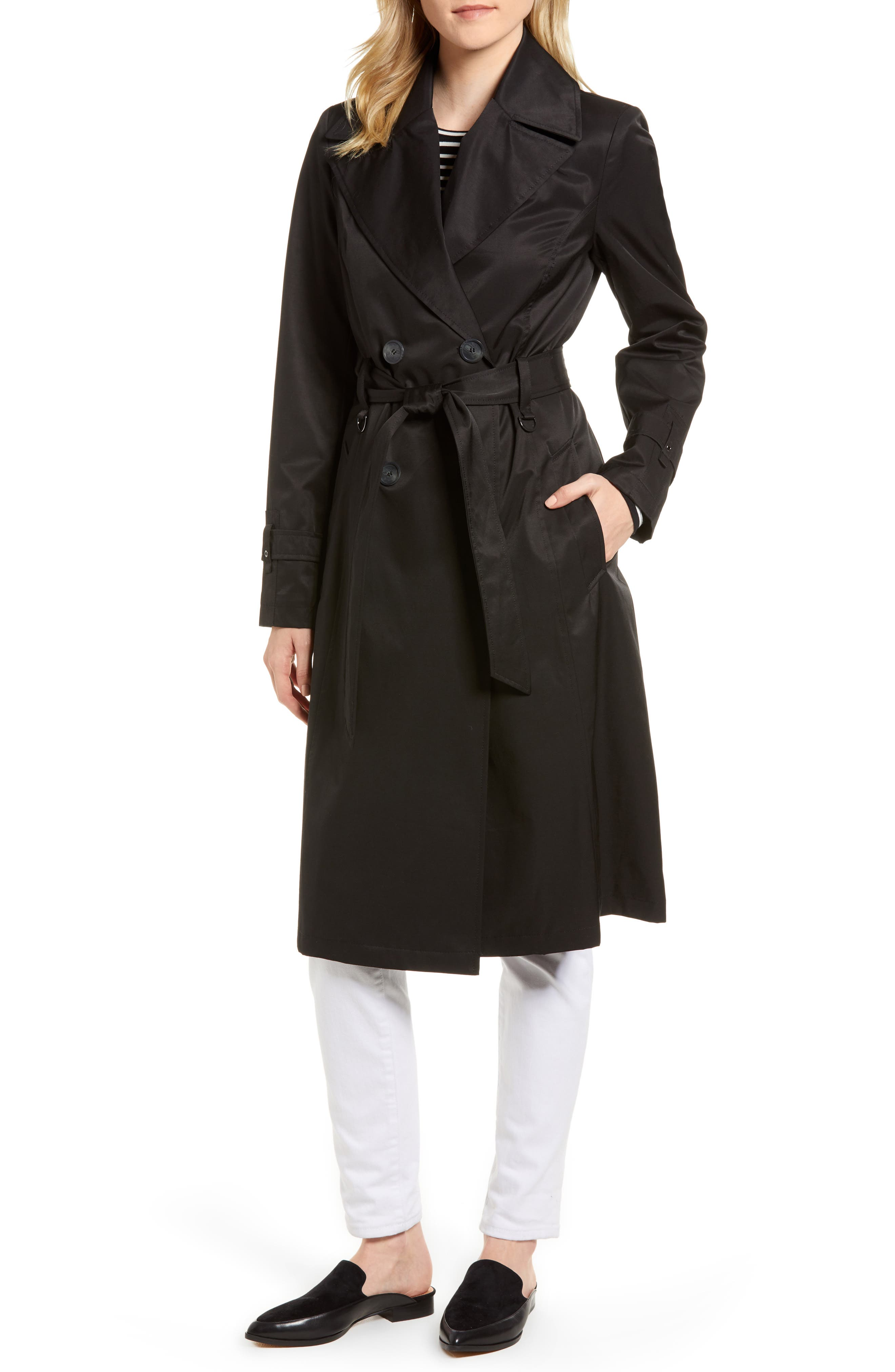 Via Spiga Womens Water-Resistant Double-Breasted Trench Coat