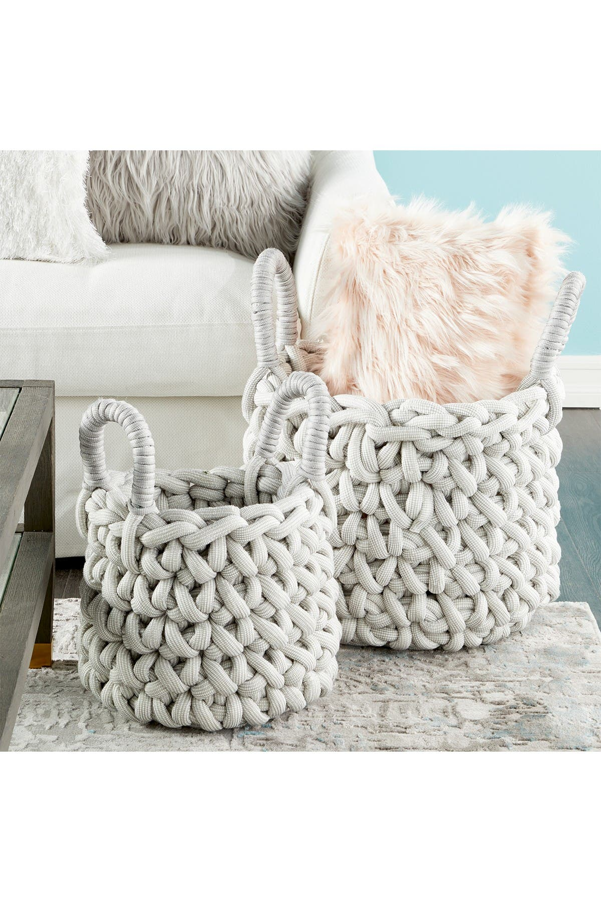 Image of CosmoLiving by Cosmopolitan Large Round Handmade Dove Gray Storage Basket - Set of 2